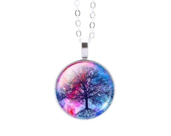Tree of Life Glass Cabochon Pattern Pendant Necklace
