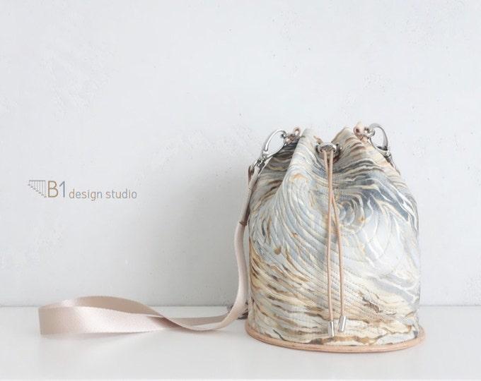 Colorful Bucket Bag, Shoulder Bag, Leather Bucket Bag, Cotton Crossbody Bag, Colorful bag, Gift for Her, Handmade Bucket Bag