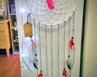 Coral and white dream catcher