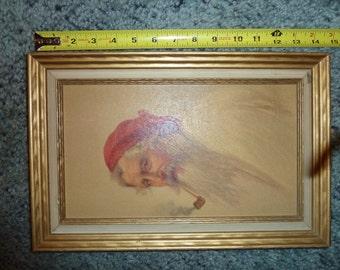 Vintage Old Man of Capri painting