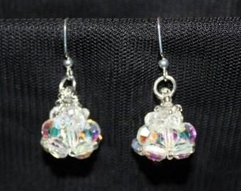 Cute crystal beaded handmade earrings; beadweaving