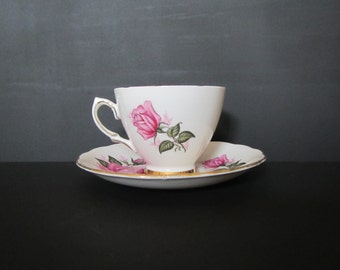 Pink Rose & Gold Trimmed Pedestal Teacup Custom-Scented Candle with Saucer
