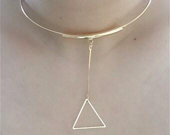Triangle Pendant Choker / Hoop Choker with Triangle