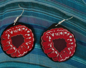 Recycled raspberry soft drink can sterling silver earrings