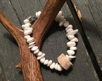 Quartz bead and deer antler bracelet
