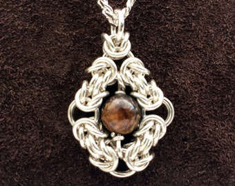 Byzantine Eye Chainmail Pendant - Sterling Silver with Bronzite