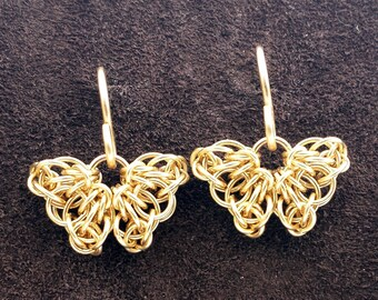Celtic Butterfly Chainmail Earrings - 14kt Gold Fill