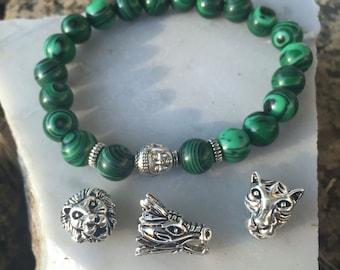 Malachite Bracelet, Healing Bracelet, Beaded Bracelet, Mala Bracelet, Protection Bracelet, Buddha Bracelet