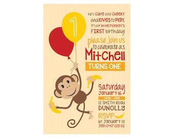 Kids Birthday CHEEKY MONKEY Invitation PRINTABLE