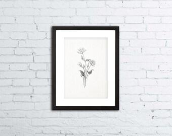 """Wildflowers Drawing - Printable Art - 8x10"""""""