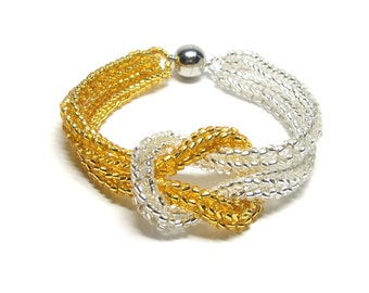 Bracelet square knot 20 cm - Miyuki glass beads - Silver / Gold (BS-1291)