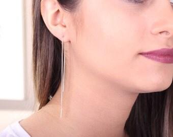 Ear thread Earrings, Sterling Silver Ear Threader, Minimal Earring