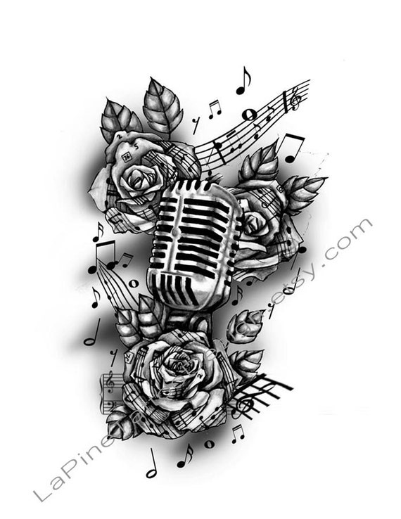 vintage microphone and music tattoo design. Black Bedroom Furniture Sets. Home Design Ideas