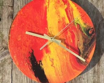 Abstract Fluid acrylic fire clock