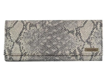 Clutch, faux leather, snakeskin, brown