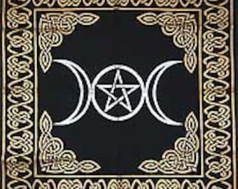 "Altar Tarot Cloth: Triple Goddess With Pentagram - 24"" X 24"""