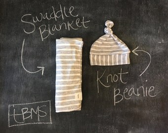 Grey stripe swaddle set