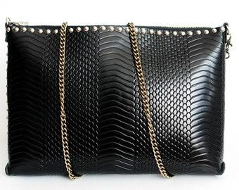Women's handbag / clutch bag handmade black Italian leather