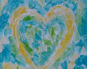 Gift Heart in Lemon, Abstract Art, Original, Modern Acrylic Painting.