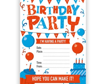 Birthday Party invites - Blue / Red Balloons & Cake - Pack of 16 - A6 Size