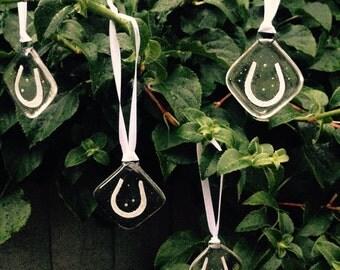 Artisan Horseshoe Glass Hangings - Set of Four
