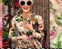 100% Silk Satin Fabric Flower Chiffon Designer Fabric by Yard Floral and Bird for Fashion Summer Dress,Skirt Pants