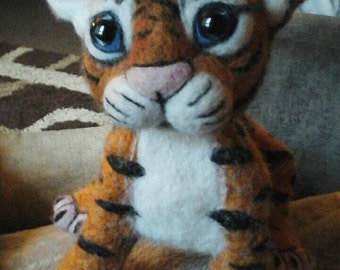 SALE:- Cute handmade needle felted tiger - Ready to post/ship