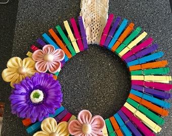 Summer Clothespin Wreath