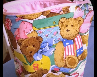Pink Teddy Bear Zippered Pouch Bag