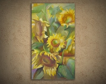 "sunflowers large art painting titled, ""Saulespuķes"", nature"