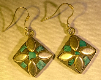 Square Flower Turquoise Blue and Silver Earrings
