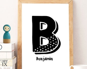 Kids room decor, letter name print, digital print letter,personalized name, monochrome name, name boys room, name girls room , minimal wall
