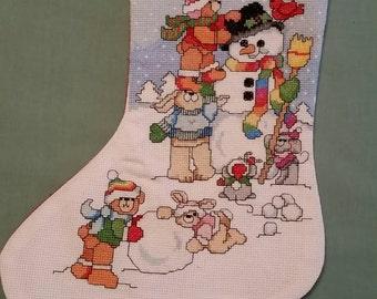 Snowman Playground Christmas Stocking