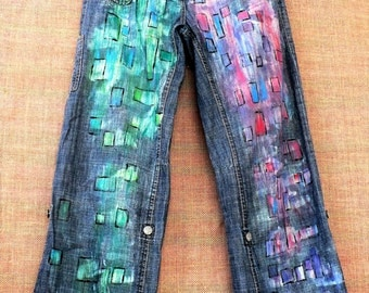 Hand-painted, recycling, vintage  trausers like jeans