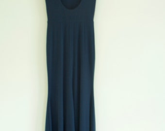 Topshop navy blue padded shoulder dress