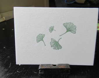 Gingko Folding Letterpress Card - Hunter Green