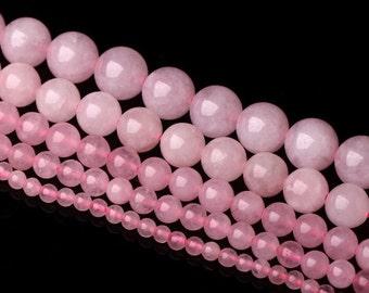 Natural Rose Quartz, Quartz Beads, Rose Quartz Beads, Smooth Round Beads, Semi-Precious, Gemstone Beads, 4 6 8 10 12 14 mm, (CB002)