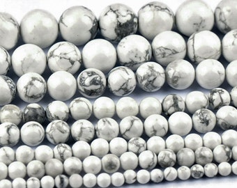 White Howlite Beads, White Turquoise Beads, Smooth Round Beads, Jade Beads, DIY Jewelry, Semi Precious Stones, 6 8 10 12 14mm, (OB002)