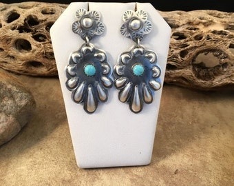 ON SALE Vintage Tim Yazzie Sterling Silver And Turquoise Navajo Dangle Earrings