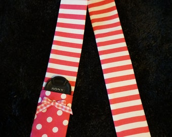 Pink and White Stripes Camera Strap Cover with pocket