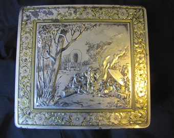 Vintage metal decorative biscuit tin with old west campfire scene,Tin Box, Container, Storage, Tin Container, Tin Can, Canister