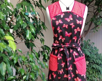 Butterfly Apron. Full Apron. Black Apron. Red Apron. Red Butterfly Apron.