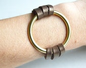 Leather Cuff With Large Brass Ring: Soft Metallic Bronze Leather Bracelet With Ring