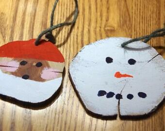 Cedar Snowman and Santa ornament
