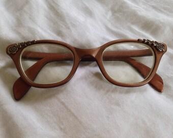 Vintage Brown Embellished Filigree Cat Eye Glasses