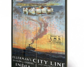 Glagow and Liverpool to India Wooden Print/Wall Hanging  40 x 59cm (16 x 23.6 inches)  SW11705P
