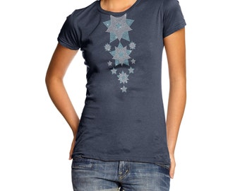 Women's Headless Falling Snowflakes Rhinestone Diamante T-Shirt