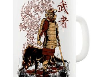 Japanese Samurai Dragon Wolf Ceramic Mug