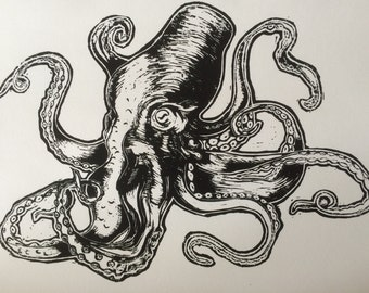 Hand printed Octopus A3