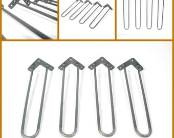 "16″ (40cm) Hairpin Legs. 3/8"" (10mm) Diameter. Raw Steel. Chair legs. Bench legs. Metal legs. Coffee table legs. SET OF 4"
